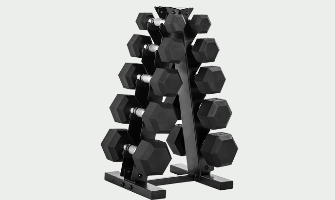 CAP 150 Pound Rubber Hex Dumbbell Set