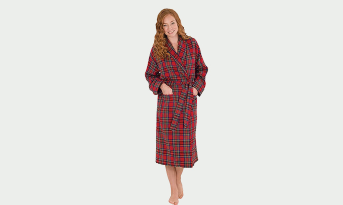 PajamaGram Cotton Flannel Robe Womens
