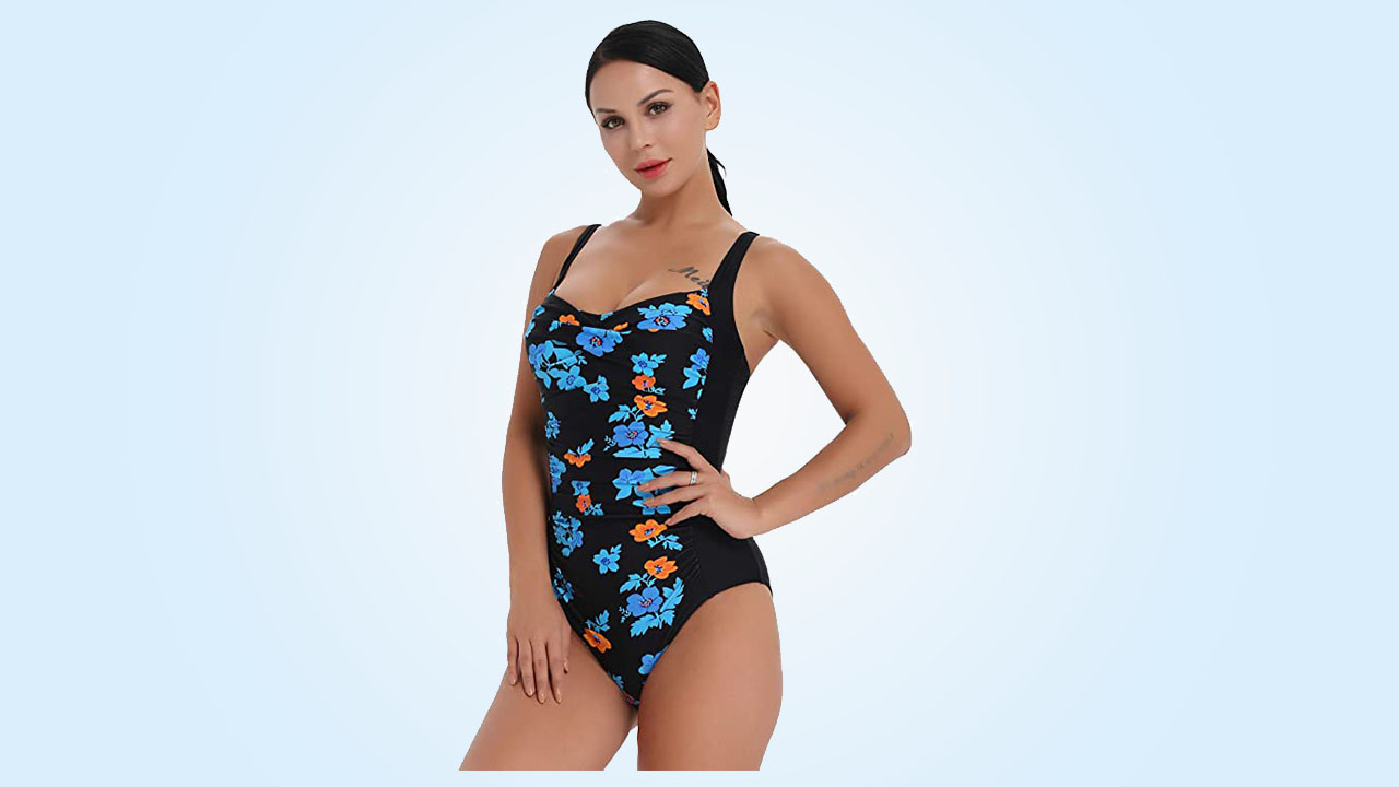 4.Joyaria Womens Retro One Piece Swimsuit Tummy Control Slimming Bathing Suit Ruched Swimwear(Size 6-24w)
