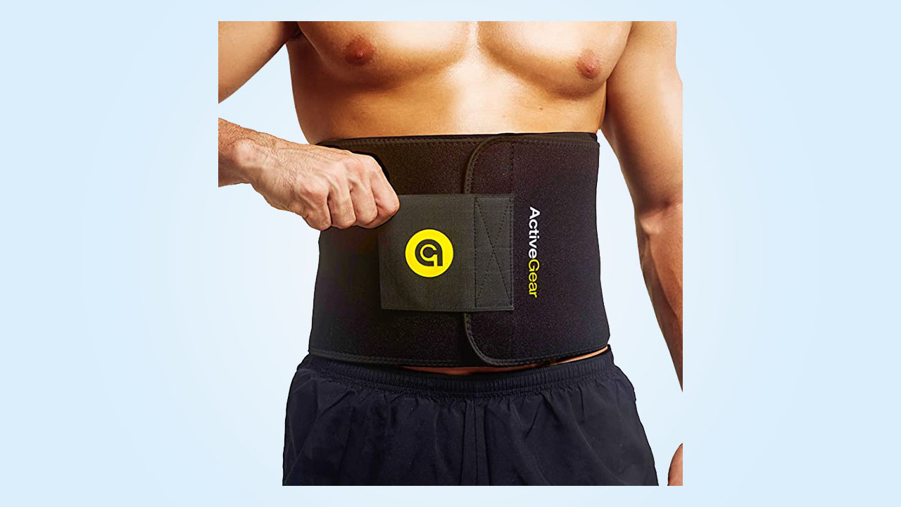 2.ActiveGear Waist Trimmer Belt Slim Body Sweat Wrap for Stomach and Back Lumbar Support